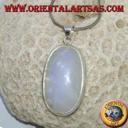 Pendentif en argent avec pierre de lune arc-en-ciel ovale (grand)