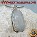 Silver pendant with oval rainbow moonstone (large)