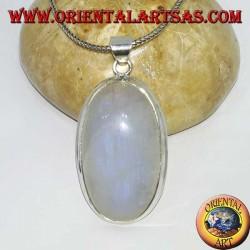 Ciondolo in argento con labradorite bianca a fluorescenza blu ovale (grande)