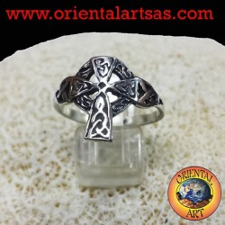 Silver ring with Celtic cross