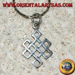 Pendentif en argent Srivatsa symbole de bonne chance (symbole de l'infini tibétain)