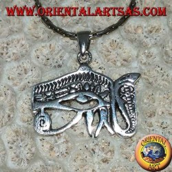 Colgante de plata de ojo de Horus con cobra (Udjat)