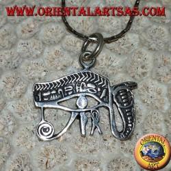 Pendentif en argent, oeil de Ra, oeil de Horus avec cobra, oeil de Providence