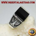 Silver ring with square onyx and imperial bas-relief eagles on the sides