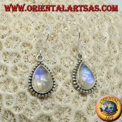 Silver earrings with white labradorite fluorescent blue, teardrop