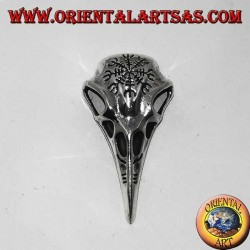 Silver crow head pendant with vegvisir