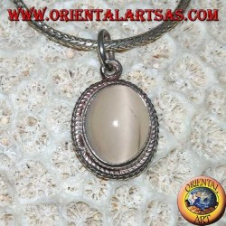 925 Silber Silberanhänger mit ovalem Mondstein