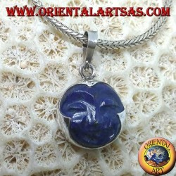 Silver pendant with sun cameo in natural lapis lazuli round