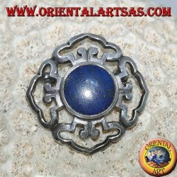 Dorje double silver brooch with central round lapis lazuli