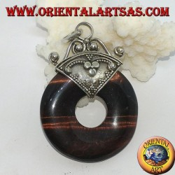 Silver pendant with donut in red tiger's eye