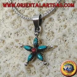 Ciondolo in argento a stella con turchese a navetta e corallo al centro