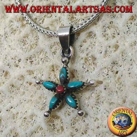 Silver star pendant with turquoise and coral in the center