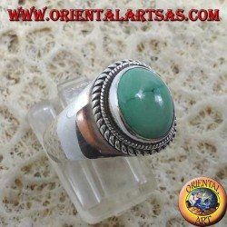Simple silver ring with natural Tibetan antique turquoise