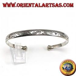 Жесткий браслет из серебра, с гравировкой рассвета и заката ручной работы