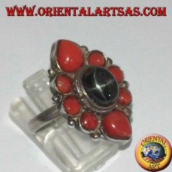Silver ring with oval Black Star surrounded by natural corals
