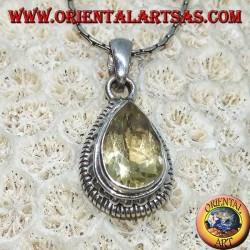 Ciondolo in argento con Topazio giallo naturale  a goccia sfaccettato