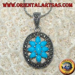 Pendant in oval silver with turquoise surrounded by marcasites