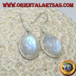 Серебряные серьги-подвески с овальным радугой лунный камень