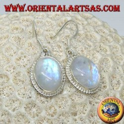 Silver pendent earrings with oval rainbow moonstone
