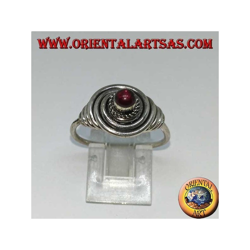 Silver wire ring with round cabochon garnet