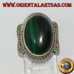 Серебряное кольцо с овальным малахитом (большое)