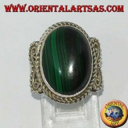Silberring mit ovalem Malachit (groß)
