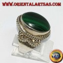 Silver ring with oval malachite (large)