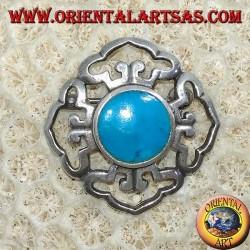 Dorje Doppelsilberbrosche mit zentralem runden Türkis