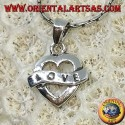 Heart shaped silver pendant with Love engraving