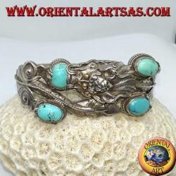 Bracelet en argent rigide, Dragon avec turquoise naturelle fait à la main avec une ouverture de menottes