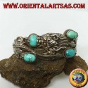 Bracelet in rigid silver, Dragon with natural turquoise handmade with a handcuff opening
