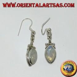 Orecchini in argento pendente con pietra di luna arcobaleno a navetta