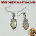 Silver pendant earrings with rainbow shuttle moonstone