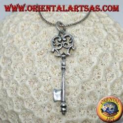 Pendentif clé en argent de style baroque (grand)