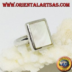Silver ring with rectangular mother-of-pearl set flush with the edge