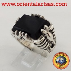 Men scorpion ring with onyx