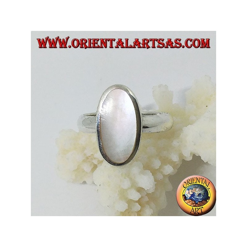 Silver ring with oval mother-of-pearl set flush with the edge