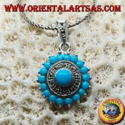 Round silver pendant with round turquoise and marcassites