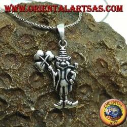 Ciondolo in argento porta fortuna lo gnomo con il trifoglio