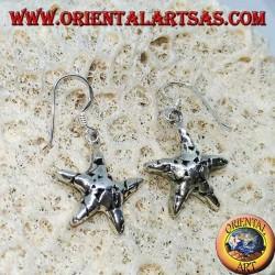 Серебряные серьги, подвески морская звезда ручной работы