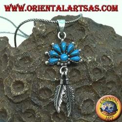Ciondolo in argento con turchesi e 2 piume stile nativi Americani