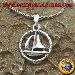 Silver pendant sailboat in the circle