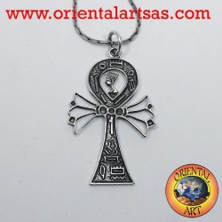Pendant Ankh cross with Nefertiti and hieroglyphs silver