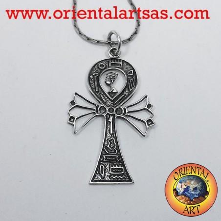 Ciondolo Ankh croce con Nefertiti e geroglifici in argento