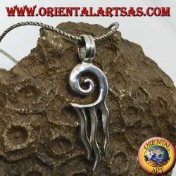 Silberanhänger, Sonnenspirale mit drei Strahlen
