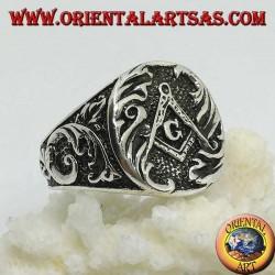 "Silver ring, Freemason's seal and compass with G ""of Freemasonry"""