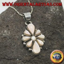 Silver pendant with eight teardrop mother of pearl