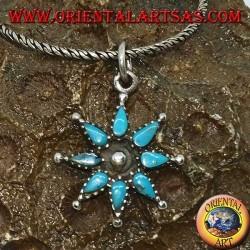 Ciondolo in argento a stella ad otto punte con turchesi