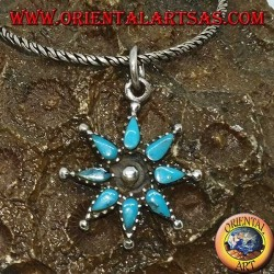 Eight-pointed silver star pendant with turquoise