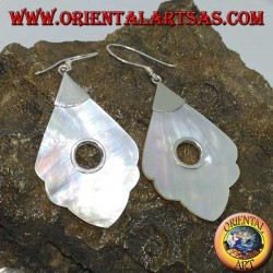 Silver earrings with mother-of-pearl pendant with round hole